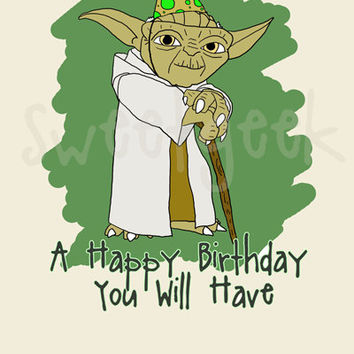 Star Wars Yoda Birthday Card