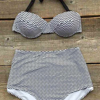 Cupshe Swim In Stripe High-waisted Bikini Set