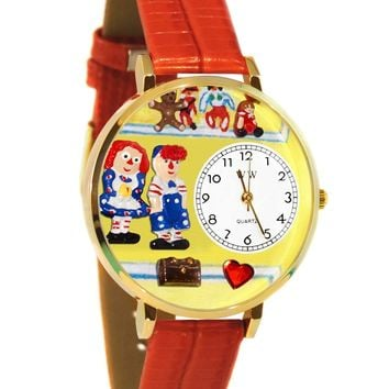Raggedy Ann & Andy Navy Blue Leather And Goldtone Watch