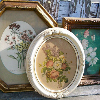 Set of 3 Shabby Chic Vintage Floral Prints in Vintage Frames Gallery Wall