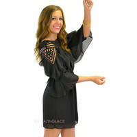 Cha Cha Chica Black Applique Neckline Dress