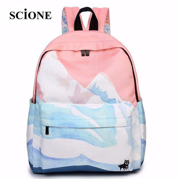 2017 rucksack mochila couple embroidered travel backpacks korean harajuku bags landscape school bags for teenager girls ZZ149