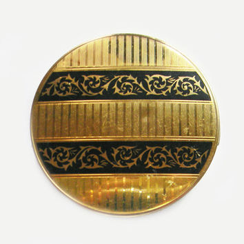 Stratton Powder Compact Gilt Black Enamel Scrollwork