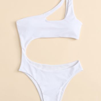 Cut-Out One Shoulder Swimsuit