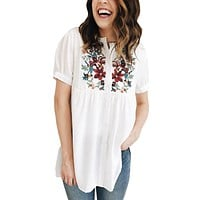White Floral Embroidered Button up Top