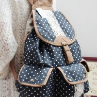 Study Hall Whispers Polka Dot and Lace Canvas Backpack in Navy  | Sincerely Sweet Boutique
