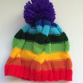 Rainbow Cabled Hat with Pom Pom, rainbow hat, cabled hat, rainbow beanie, rainbow beanie with pom pom, rainbow pom pom, rainbow