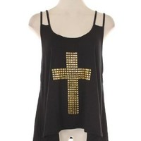 G2 Chic Women's Studded Cross High Lo Tank