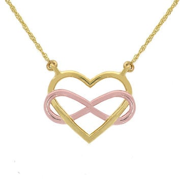 14k solid gold two tone heart with infinity necklace, infinity jewelry, heart jewelry, love jewelry, dainty