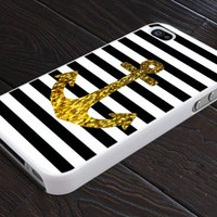 Anchor Gold Bling - Print On Hard Cover For iPhone 5