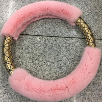 women car accessories-Pink Furry Steering Wheel Cover Gold Cover Peach Pink Pom Poms Cute Car Accessory For Women