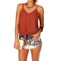 Promo-Ox Blood Tie Front Sleeveless Top