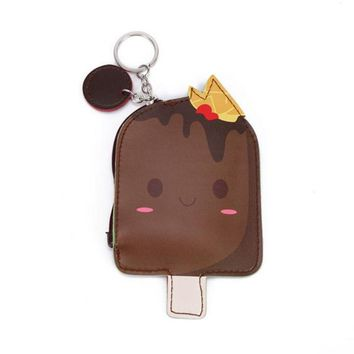 Cool Brown Chocolate Ice Cream Popsicle Zippered Coin Purse with Key Ring