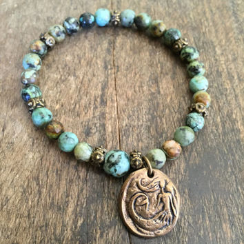 Mermaid Turquoise Knotted Bracelet, Rustic Beach Boho Beaded Jewelry by Two Silver Sisters