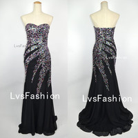 Long Strapless Sweetheart with Sequined Chiffon Black Prom Dresses, Evening Dresses, Evening Gown, Party Dresses