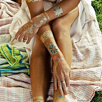 120models new Trendy Color feathers Jewel Body painting Metallic Tattoos Henna paste Arabic Indian Gold Flash body paint Glitter