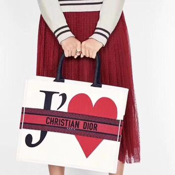 Kuyou Gb5988 Dior T¡¯aime Love Book Tote Bag In Embroidered Canvas 42*32*16cm