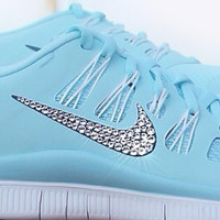 Nike Free 5.0+ Women's Running Shoes -  Glacier Ice / Night Factor / Summit White - Bedazzled with 100% Swarovski Elements Crystals