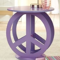 Peace Sign Purple End Accent Table Display Stand: Home & Kitchen