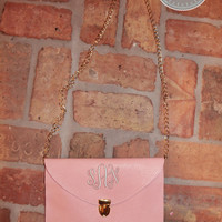 Monogrammed Clutch Purse with Crossbody Chain - Light Pink