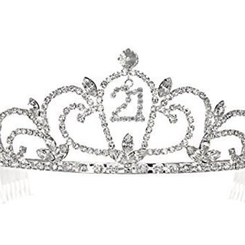 Birthday Party Rhinestone Crystal Tiara Crown - 21st 21th Twenty one T1192