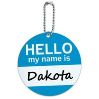 Dakota Hello My Name Is Round ID Card Luggage Tag