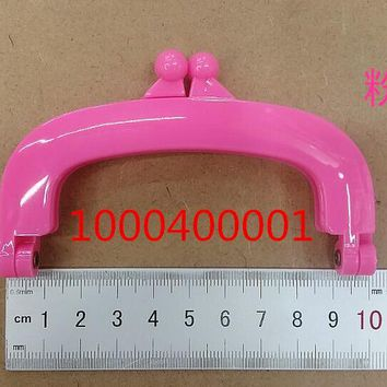 Free Shipping-6PCs Pink Colour Bead Purse Bag Plastic Frame Kiss Clasp Lock Handle 10cm DIY Handmade Bag Parts Accessories J2550
