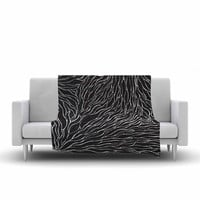 "Nl Designs ""Garden Illusion"" Black White Fleece Throw Blanket"