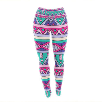 "Sarah Oelerich ""Teal Tribal"" Pink Purple Yoga Leggings"