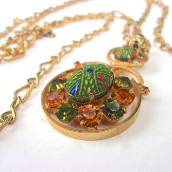 Topaz Green Rhinestone Moroccan Pendant Necklace, Double Chain, Gold Tone, Vintage
