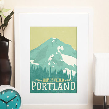 Portland - Keep it Weird Travel Poster, Wall Art, Modern Home Decor, Wall Art, Art Deco