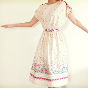 Vintage Dress , 1970s , Toni Todd Dress , Cream , Ivory , Floral Print , Under Knee Dress