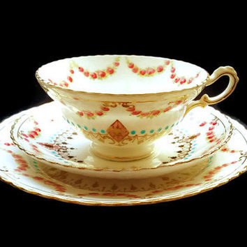 Antique Teacup Samuel Radford Bone China Avon Shape Versailles Trio English Victorian c1891 Hand Painted Scalloped Rim Pink Roses Gold  Blue