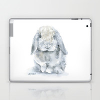 Mini Lop Gray Rabbit Watercolor Painting Laptop & iPad Skin by Susan Windsor