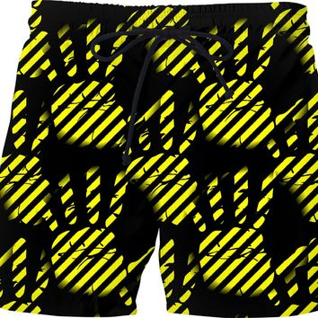 Black and yellow construction stripes theme, palm prints pattern swim shorts design