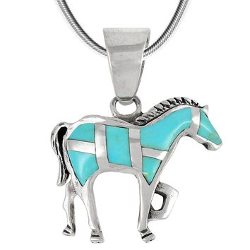 "Sterling Silver Horse Pendant Necklace with Genuine Gemstones 18"" Length"
