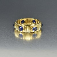 Wide Sapphire 14K Gold Eternity Band Ring