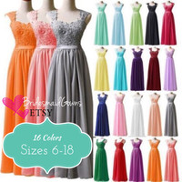 15+ Colors Lace-Up Corset Bridesmaids Dress, Chiffon Long Formal Prom Evening Dress, Ball Gown