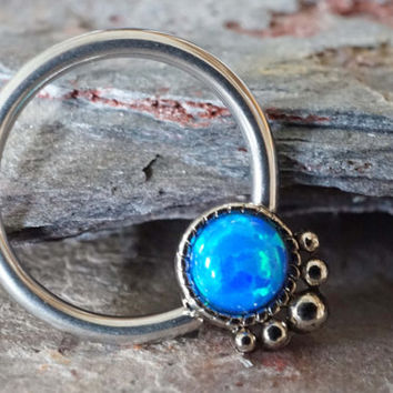 Septum Ring Turquoise Blue Opal Hoop Cartilage Nipple Conch Daith Helix