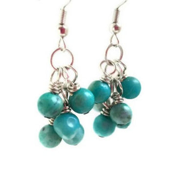 Turquoise Earrings / Cluster Earrings / Beaded Dangle / Teal Earrings