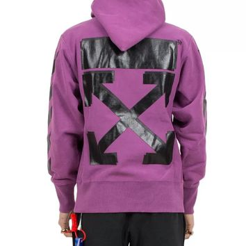 OFF-WHITE x Champion Joint style classic arrow stripe men and women hooded sweater purple