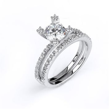 Sterling Silver Rhodium Plated and 6mm round Cubic Zirconia center stone Wedding Set