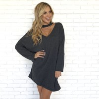 Bonfire On The Beach Sweater Dress In Charcoal