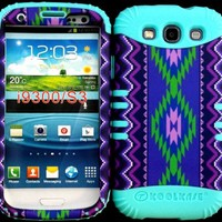 Hybrid Impact Rugged Cover Case Purple Tribal Aztec Pattern Hard Plastic Snap on Baby Teal Skin for Samsung Galaxy Slll S3 Fits Sprint L710, Verizon I535, At&t I747, T-mobile T999, Us Cellular R530, Metro PCS and All