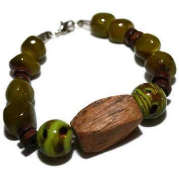 OOAK Green and Brown mixed media Beaded Bracelet by chumaka