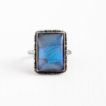 Vintage Sterling Silver Blue Morpho Butterfly Wing Ring - Size 6 Art Deco 1920s Statement Rectangular Teal Violet Iridescent Unique Jewelry