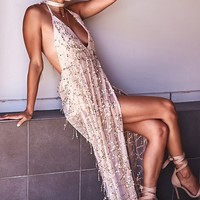 Essence Sequin Maxi Dress Gold