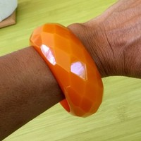 "Pumpkin Resin Lucite Diamond Pattern Bangle 1-5/16"" MassiveBracelet Butterscotch"