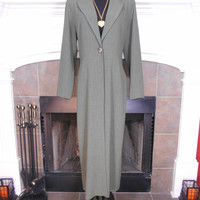 Wallis, Ladies Maxi Length Suit Jacket, Slim Silhouette, 90s, Grey, One-Button Closure, Long Sleeve, Back Slit, Partially Lined, UK Size 10
