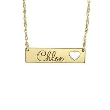 Cutout Heart Name Necklace Bar